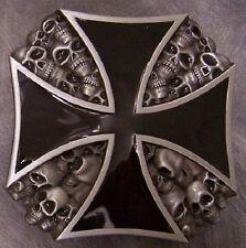 Pewter Belt Buckle religious Maltese Cross black NEW