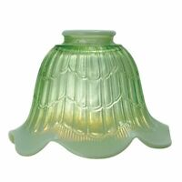 "GREEN OPALESCENT ~ Embossed ~ 4 3/4"" Tall ~ Glass Lamp Shade ~ 2 1/4"" Fitter"