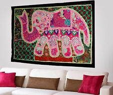 HANDMADE ELEPHANT BOHEMIAN PATCHWORK WALL HANGING EMBROIDERED TAPESTRY INDIA X49