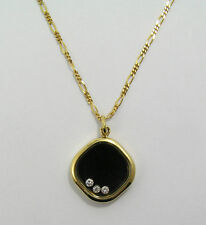 18kt Chopard Happy Diamonds Pendant Necklace With Onyx and 3 Floating Diamonds