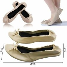 BEIGE 41 ROLL UP FOLD PUMPS FLATS AFTER PARTY SHOES POCKET FREE BAG FOLDABLE