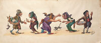 Dessin original de Édouard HERZIG (1860-1926) Caricature orientaliste chat
