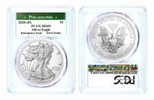2020 (P) $1 Silver Eagle Philadelphia Emergency Issue Pcgs Ms69 First Strike