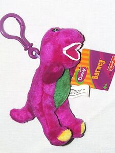 "NEW~BARNEY THE PURPLE DINOSAUR 5.5"" TALL CLIP  ON PLUSH DOLL, GREAT FOR BACKPACK"