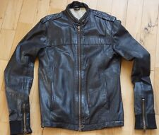 Black Slim Fit Leather Jacket Medium M Mens Good Condition All Saints Style
