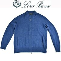 Loro Piana EUC Mens Sweater Baby Cashmere Sz 50 Knit Jacket Full Zip Blue Italy