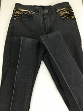 GUESS Women's Charcoal Wash and Tiger Print Skinny leg Jean Size 27