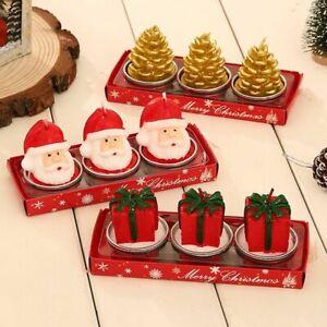 Christmas Decor Santa Snowman Handmade Kit Smokeless Candle Celebration 3pcs/set