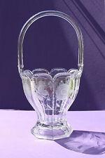 Antique Signed Heisey - Crystal Floral & Butterfly Design Basket