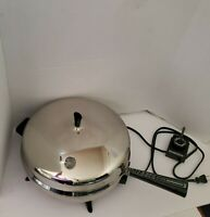 Faberware Aluminum Clad Electric Skillet 310B USA Dome Lid Works Good Condition