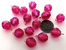 Vintage 11mm Faceted Translucent Fuchsia Plastic Beads Charms 16