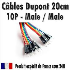 10x Cables Dupont 20cm Male/Male pour BreadBoard Arduino, Raspberry Pi