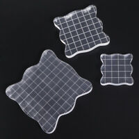 3pcs Acrylic Clear Rubber Stamping Blocks Set with Grid Essential Stamping Tools