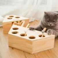 Pet Cat Toy Interactive Play Cat Toys Indoor Solid Wooden Cat Hunting Whack Toy