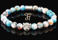 Jade blau bunt - silberfarbener Tigerkopf - Armband Perlenarmband 8mm