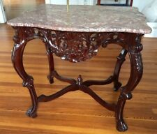 Beautiful Heavily Carved Reproduction Mahogany Marble Top Lamp Table