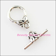 16 New Connectors Necklace Leaf Circle Toggle Clasps Tibetan Silver Tone