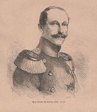 Prinz Albrecht von Preußen HOLZSTICH von 1871 Deutsch-Französischer Krieg