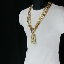 """Iced Out Hip Hop Style 14k Gold Plated Jesus Piece Pendant Two 30"""" Cuban Chain"""