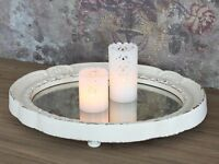 French Chic Antique Style Orante Oval Mirror Tray Dressing Table Shabby Cream