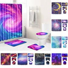 Space Nebula Galaxy Bathroom Shower Curtain Bath Curtains Rugs Toilet Seat Cover