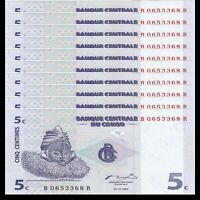 Lot 10 PCS, Congo 5 Centimes, 1997, P-81, Banknote, UNC
