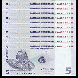 Lot 10 PCS, Congo Democratic Republic 5 Centimes, 1997, P-81, UNC