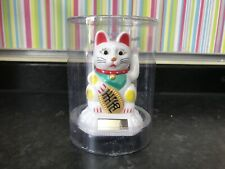WHITE Lucky Cat 5 Waving Solar Power Powered Chinese Oriental Fortune Maneki