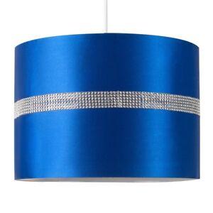 Large Modern Decorative Blue and Silver Diamante Jewel Effect Polycotton Rolla C