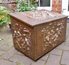 VINTAGE REPOUSSE BRASS COVERED COAL / LOG BOX~SHAKESPEARIAN TAVERN SCENES