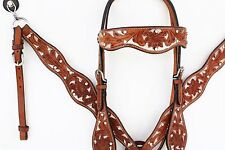 SILVER BLING WESTERN LEATHER HORSE BRIDLE HEADSTALL BREASTCOLLAR REINS TACK SET
