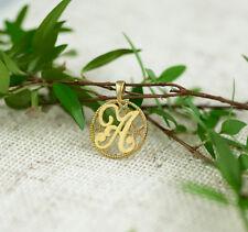 letter A initial diamond pendant solid gold 14k necklace charm name monogram art