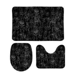 Smoke Skull Coral Velvet Three Piece Bath Set Dark Version