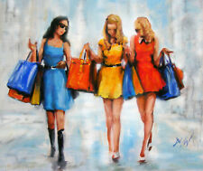 Shoppers Oil Painting: Girls Know How to Shop! The Perfect Gift Idea!