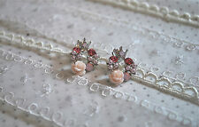 NEW Pastel Pink Rose Wreath Crown Top Cubic Stud Earrings Sterling Silver Post