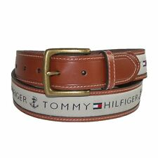 *NWT* Tommy Hilfiger Men's Leather Casual Belt with Fabric Tan/Khaki Inlay