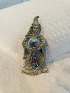 """Fantasy Mythical & Magic Comstock Pewter Jeweled Wizard with Crystal Ball 2.5"""""""