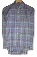 Robert Graham Boy's Gray/Blue Plaid Floral Flip Cuff Button Front Shirt L 14-16