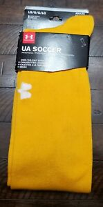 Under Armour Over The Calf Soccer Socks Large Mens Size 9-12.5 Yellow