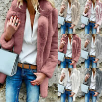 Women Warm Coat Winter Fluffy Coat Fleece Fur Jacket Casual Cardigans Outerwear