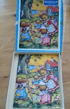 Teddy Wash Day Victory Wooden Jigsaw  20 Pieces 1960's Complete