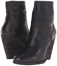 FRYE Cece Artisan Short Black LEATHER Wedge Heel Boots Size 9 Woman's NIB
