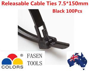 7.5*150mm Black Releaseable Release adjustable Cable Zip Ties