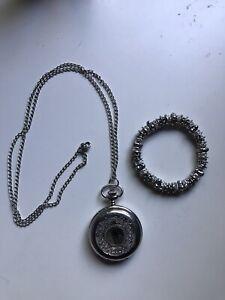 Silver Color Pocket Watch Necklace & Bracelet