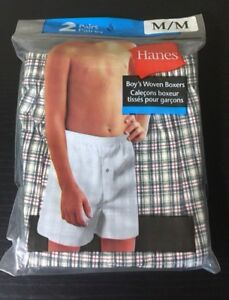 Hanes Boy's Woven Boxers 2 Pairs Medium Fashionable Design UNDERWEAR Cotton NWT!