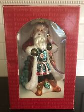 Gorgeous Fitz And Floyd Santa Glass Ornament with Striking Rich Colors with Box