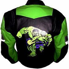 Hulk Estilo Dibujo Hombre Dinámico Verde Moto Estilo Chaqueta de Cuero