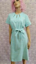 Vintage Retro Housewife Dress Hand Made Womens L XL Blue Belted Short Sleeve
