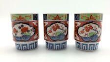 """Eiwa Kinsei Japan Arita Porcelain 3.25"""" Sake Cups Red Blue Green Vintage 3 pc"""