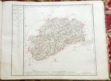 Dépt 70 - Carte Originale de 1790 - Gravure sur Cuivre Aquarellée 73 x 56 cm